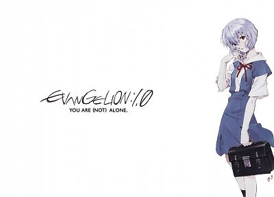 school uniforms, Ayanami Rei, Neon Genesis Evangelion, lonely, simple background - random desktop wallpaper