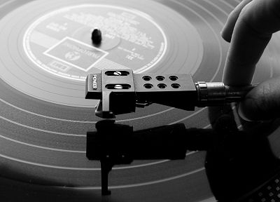 music, record, turntable, monochrome, greyscale - desktop wallpaper