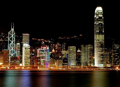 cityscapes, night, buildings, Hong Kong, reflections, cities - related desktop wallpaper