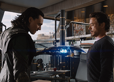 movies, screenshots, Tony Stark, Robert Downey Jr, Marvel Comics, Loki, Marvel, Tom Hiddleston, The Avengers (movie), sceptres - random desktop wallpaper