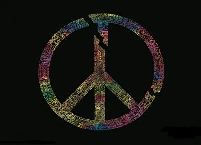 symbol, peace, typography, black background, peace sign - desktop wallpaper