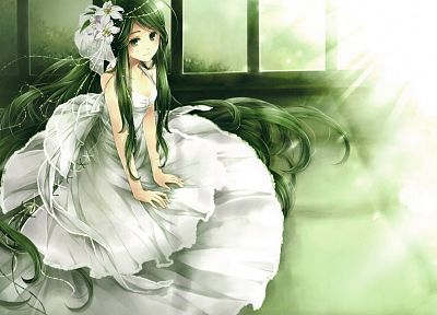 dress, flowers, long hair, green hair, white dress, anime girls - random desktop wallpaper