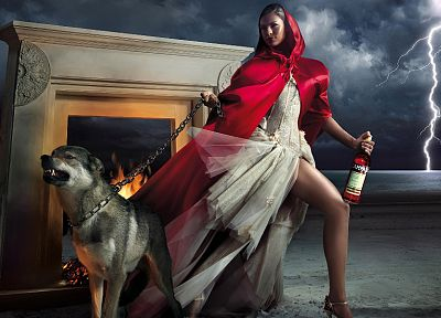 legs, dogs, red dress, lightning, beaches - desktop wallpaper