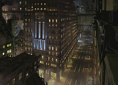 cartoons, Batman, cityscapes, architecture, buildings - desktop wallpaper