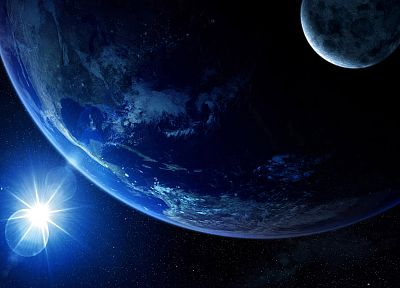 light, outer space, stars, planets, Earth - related desktop wallpaper