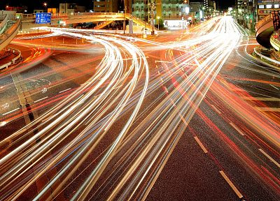 light, Japan, Tokyo, cityscapes, cars, long exposure, light trails - random desktop wallpaper