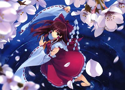 brunettes, water, Touhou, long hair, barefoot, Miko, red eyes, Hakurei Reimu, anime, flower petals, shrine maiden outfit, reflections, Japanese clothes, Misaki Kurehito, anime girls, gohei, detached sleeves - related desktop wallpaper