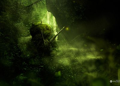 nature, leaves, lanterns, snails, moss, artwork, Desktopography, 2009 - random desktop wallpaper