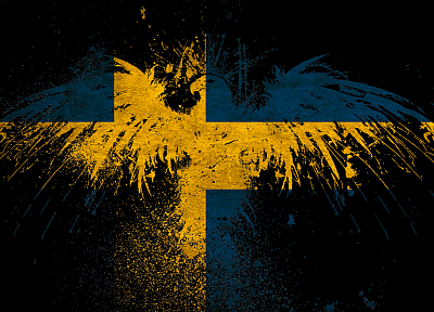 Sweden, eagles, flags - random desktop wallpaper