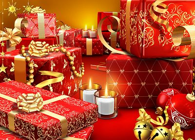 red, Christmas, gifts, holidays, ornaments - desktop wallpaper