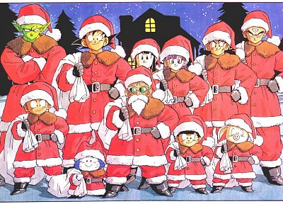 Son Goku, Christmas, Master Roshi, Son Gohan, Piccolo, Dragon Ball Z, yamcha, Santa outfit - desktop wallpaper