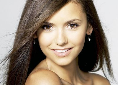 brunettes, women, actress, Nina Dobrev, The Vampire Diaries, faces, white background - desktop wallpaper