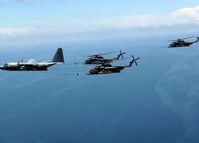 aircraft, helicopters, vehicles, MH-53 Pave Low, KC-130 Hercules, midair refueling - desktop wallpaper