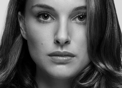 women, actress, Natalie Portman, monochrome, portraits - desktop wallpaper