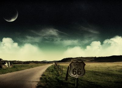 landscapes, Moon, fields, route 66, roads - related desktop wallpaper