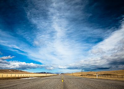 clouds, landscapes, nature, highways, roads, skyscapes, blue skies - related desktop wallpaper