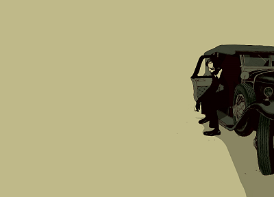 smoking, minimalistic, cars, men, digital art, artwork, oldtimer - random desktop wallpaper