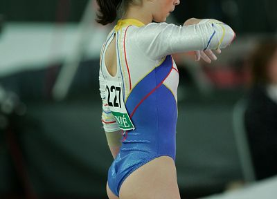 brunettes, women, pale, athletes, leotard, gymnastics - random desktop wallpaper