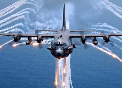 aircraft, military, AC-130 Spooky/Spectre, planes, flares - desktop wallpaper