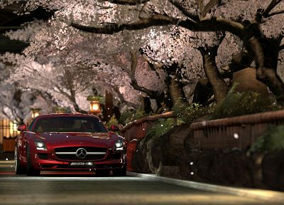 landscapes, trees, red, cars, Kyoto, scenic, vehicles, Mercedes-Benz, Mercedes-Benz SLS AMG E-Cell - related desktop wallpaper