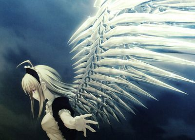 blondes, angels, wings, short hair, Nitroplus, anime girls, mechanical wings - random desktop wallpaper