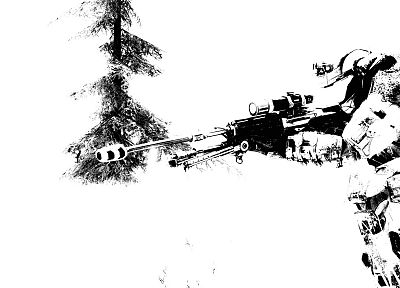 snow, trees, Halo, sniper rifles - related desktop wallpaper