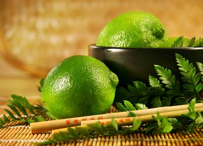 fruits, food, limes, bowls, chopsticks - random desktop wallpaper