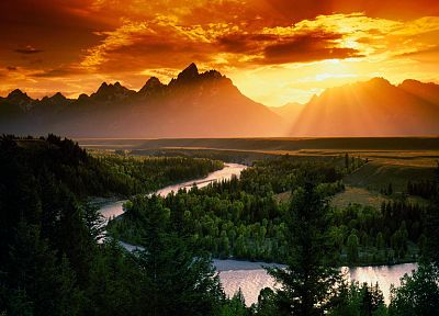 sunset, mountains, clouds, landscapes, Sun, forests, rivers, skyscapes - random desktop wallpaper