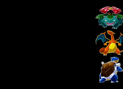 Pokemon, Venusaur, Blastoise, Charizard, black background - related desktop wallpaper