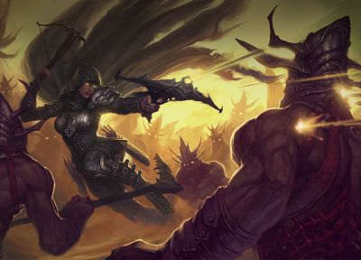 fantasy, Demon Hunter, artwork, Diablo III, crossbows - related desktop wallpaper