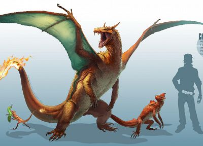 Nintendo, Pokemon, video games, Charmeleon, digital art, artwork, Charizard, Charmander, Caterpie - desktop wallpaper