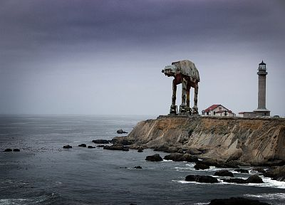 Star Wars, ocean, cars, shore, lighthouses, AT-AT, vehicles, photo manipulation - related desktop wallpaper