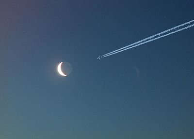 airplanes, Moon - desktop wallpaper