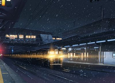 snow, trains, Makoto Shinkai, train stations, scenic, 5 Centimeters Per Second, vehicles - desktop wallpaper