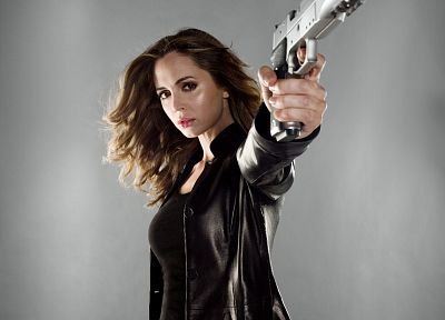 brunettes, women, pistols, actress, Eliza Dushku, girls with guns, leather jacket, leather pants - related desktop wallpaper