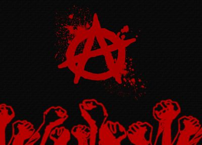 black, red, fists, anarchy - random desktop wallpaper
