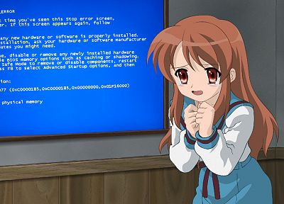 school uniforms, Asahina Mikuru, The Melancholy of Haruhi Suzumiya, parody, Blue Screen of Death, sailor uniforms - related desktop wallpaper