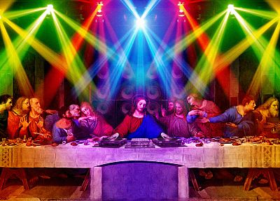 multicolor, funny, DJs, rainbows, The Last Supper, Jesus Christ, sacreligious - random desktop wallpaper