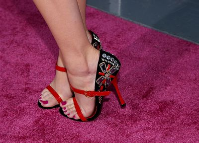 women, feet, Emma Stone, toes, high heels, nail polish - desktop wallpaper