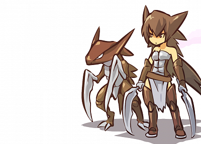 brunettes, Pokemon, animal ears, anime, Kabutops, simple background, Hitec - random desktop wallpaper