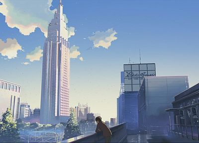 cityscapes, architecture, buildings, downtown, Makoto Shinkai, lonely, 5 Centimeters Per Second, anime - related desktop wallpaper