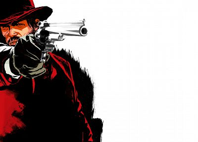 Red Dead Redemption, white background - desktop wallpaper