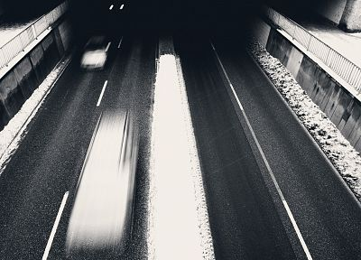 cityscapes, cars, traffic, monochrome, time, underpass - random desktop wallpaper