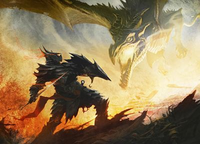 wings, dragons, fire, fantasy art, armor, artwork, warriors, swords, The Elder Scrolls V: Skyrim, games - related desktop wallpaper