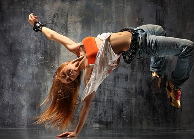 women, redheads, dance, digital art, artwork, breakdancing - random desktop wallpaper