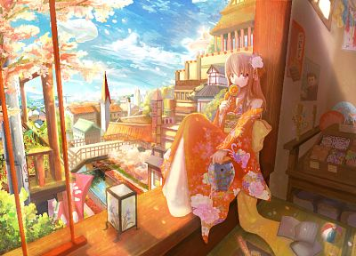cherry blossoms, room, scenic, Kariya Kyou, Japanese clothes, anime girls, cities, skies - desktop wallpaper