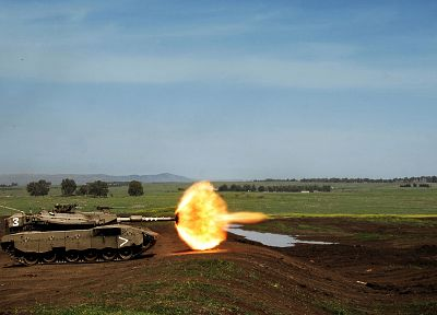 landscapes, military, outdoors, tanks, shooting, Leopard 2, firing - desktop wallpaper