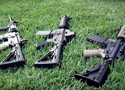 guns, grass, weapons, airsoft, eotech, assault rifle - related desktop wallpaper