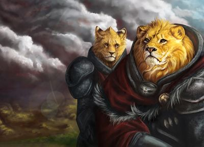 digital art, lions, furry - random desktop wallpaper