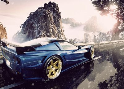 mountains, snow, cars, roads, vehicles, Corvette - related desktop wallpaper